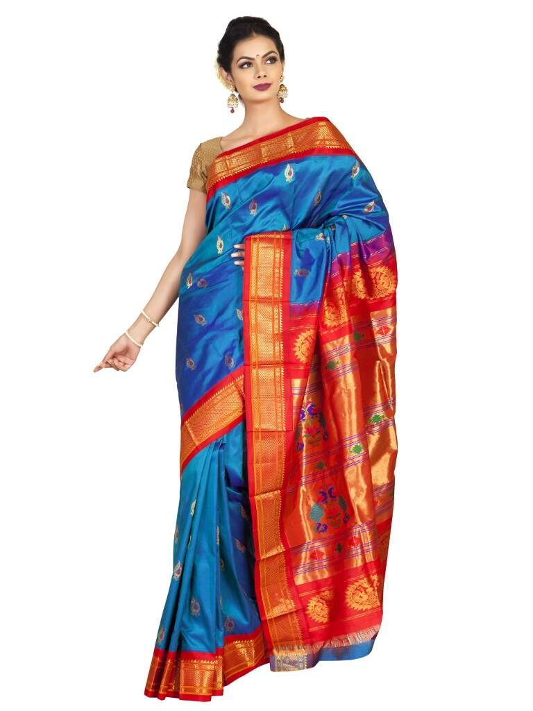 Turquoise Paithani With Red Border Price 17 520 00 Or 292 00 Chennai Chennaidiaries Sareeexhibition Exhibition Exhi Saree Saree Collection Turquoise