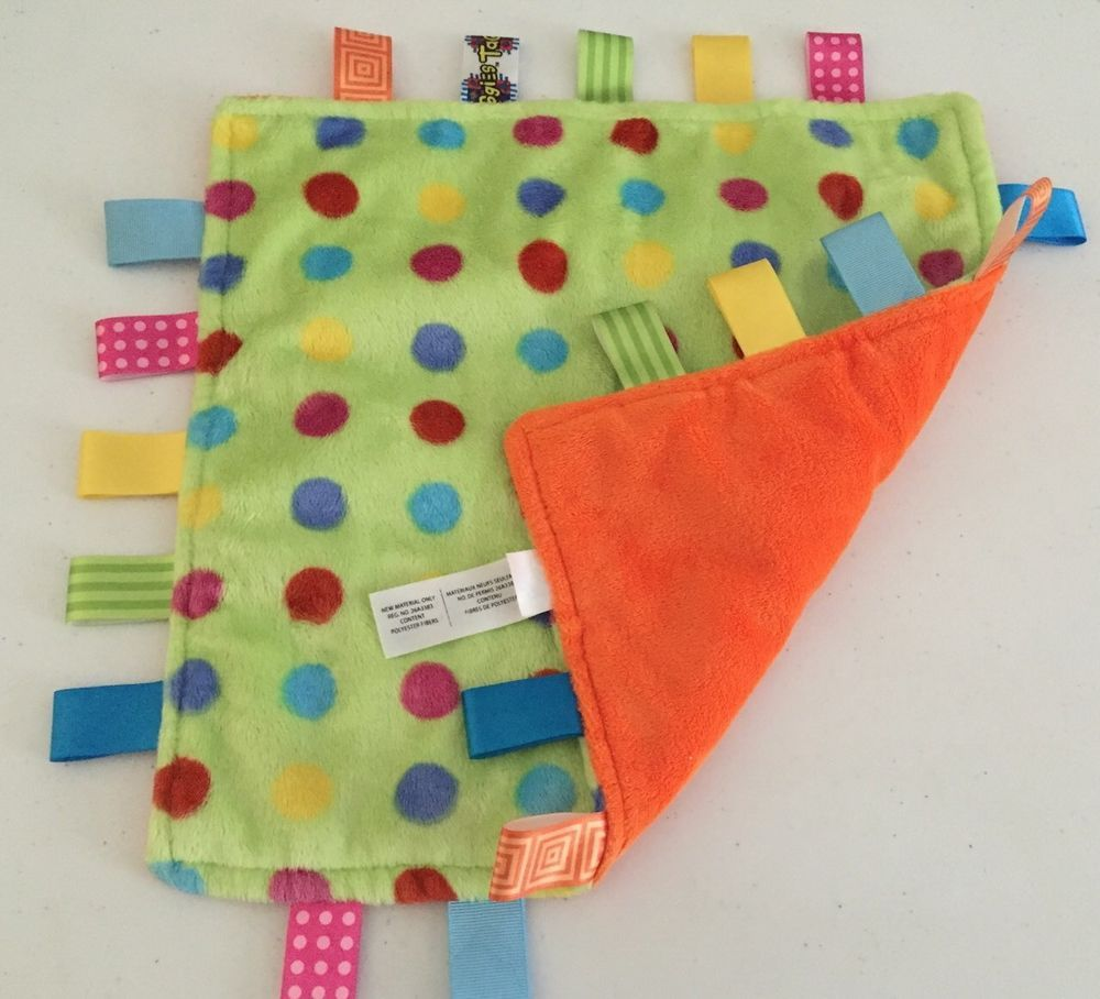 Taggies Green Orange Security Baby Blanket Polka Dots Lovey Plush Blue  Yellow #Taggies