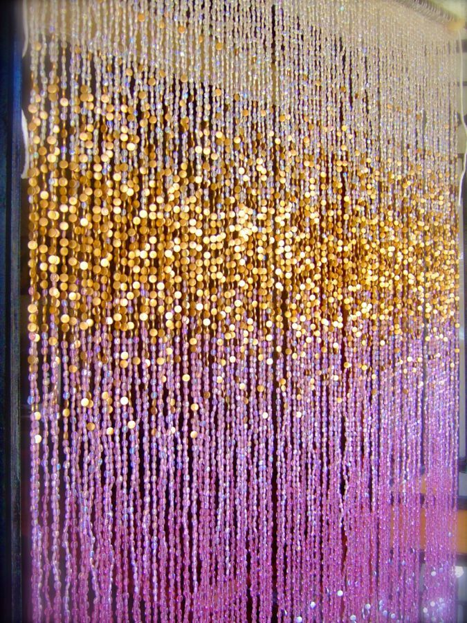 Antique Ombre Pink Silver Gold Beaded Curtain Ready Made