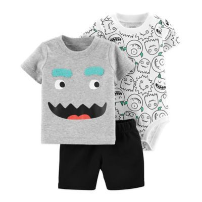 3dc77f451 Carter's Size 12M 3-Piece Monster Little Short Set In Grey in 2019 ...