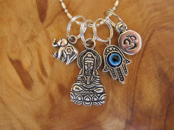 Buddha hamsa with evil eye om and lucky elephant protection buddha hamsa with evil eye om and lucky elephant protection charm necklace yoga jewely zen spiritual buddhism mozeypictures Image collections