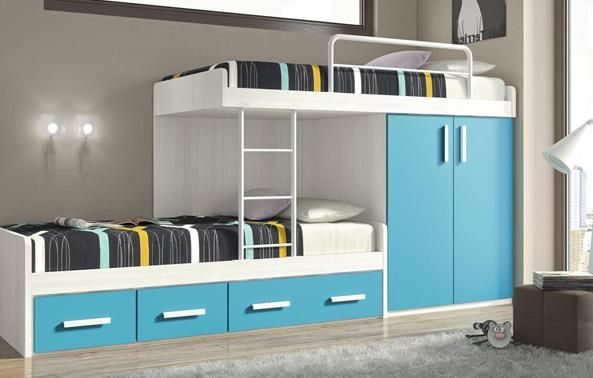 Dormitorio de camas litera infantiles children rooms - Literas infantiles de madera ...