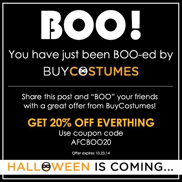You've Just Been BOO-ed by BuyCostumes!  Coupon Code!  Save 20% on Everything from Halloween Costumes to Accessories and more! - http://www.stacyssavings.com/youve-just-boo-ed-buycostumes-coupon-code/