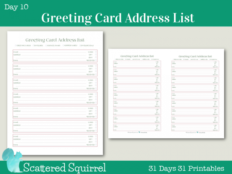 31 Days 31 Printables Addressing Christmas Cards Holiday Organization Address List