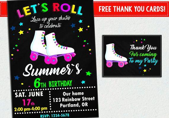 Roller Skate Invite Roller Skate Invitation Roller Skate Party