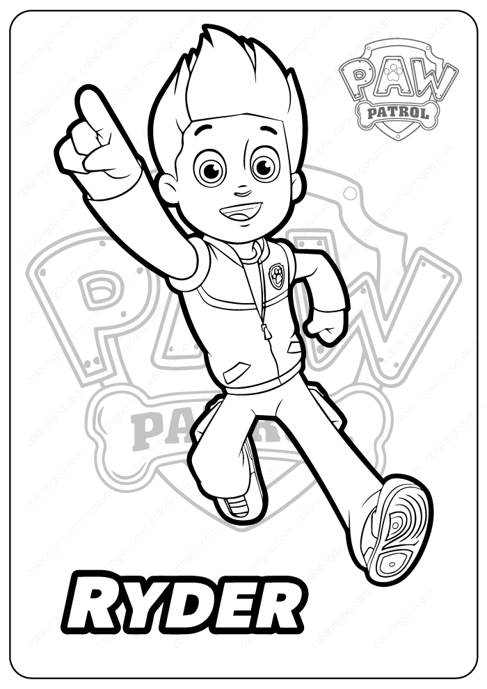 Printable Paw Patrol Ryder Coloring Pages Paw Patrol Coloring Pages Ryder Paw Patrol Paw Patrol Coloring
