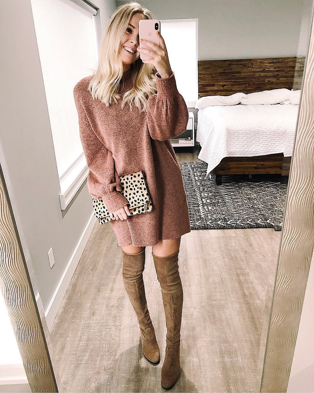 6f4ba59f031f Sweater dress with over the knee boots   topshop   Stuart weitzman   mirror  selfie   fashion blogger