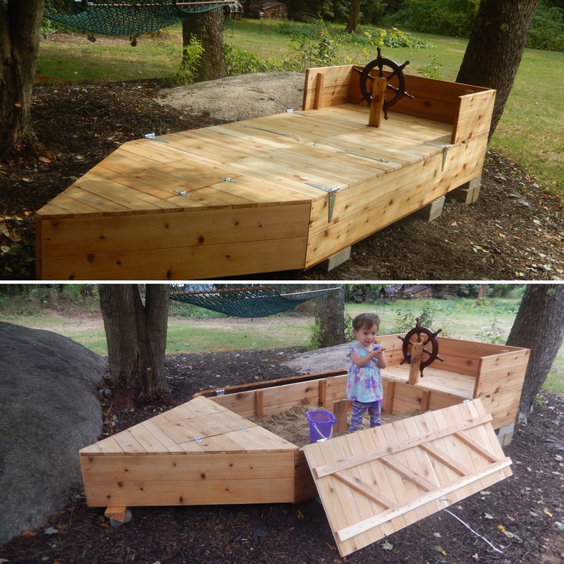 boat shaped sandbox with lid and built in storage ...