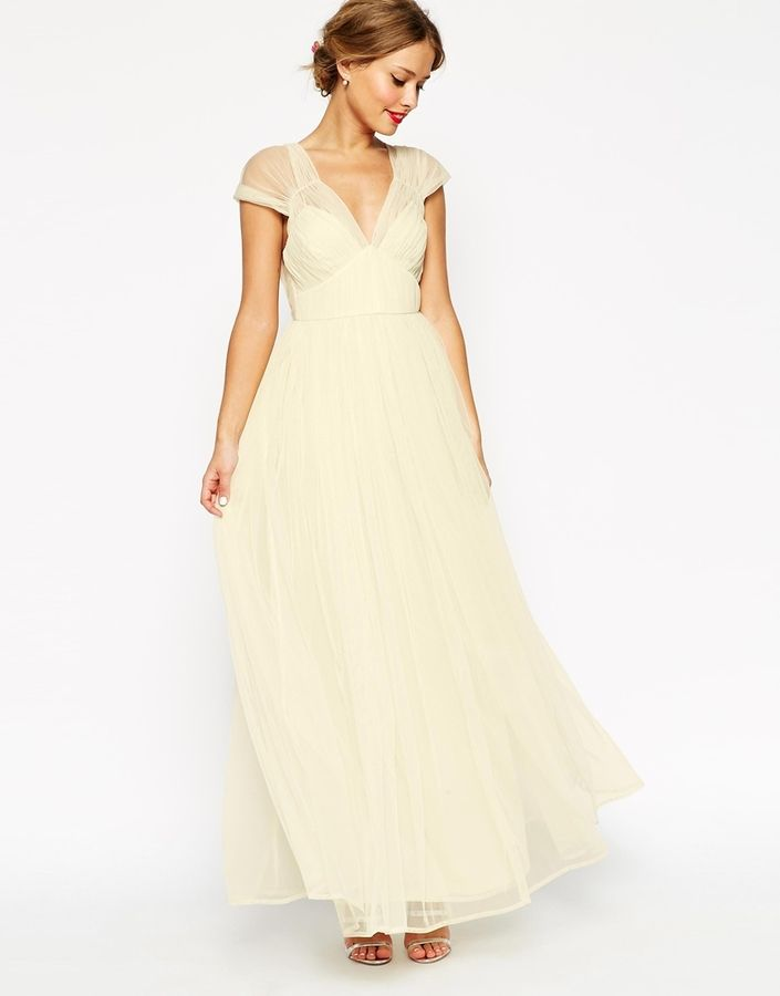ASOS WEDDING Ruched Mesh Panel Maxi Dress  34a97deafdc