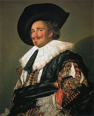 """""""The Laughing Cavalier"""" c.1624, is a portrait by the Dutch Golden Age painter Frans Hals in the Wallace Collection in London, which has been described as """"one of the most brilliant of all Baroque portraits"""". [Wikipedia]"""