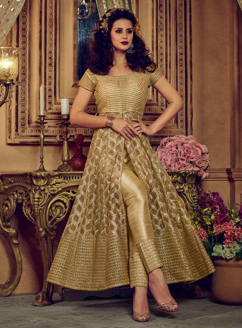 13233139 Golden Net Center Slit Anarkali Suit 133764 Sharara, Salwar Kameez, Kurti,  Bollywood Dress