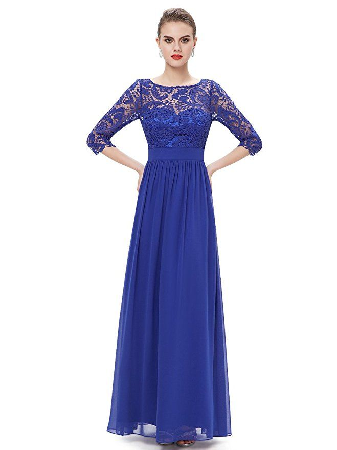 f2e368a88229 Ever Pretty Women's Lace Long Sleeve Floor Length Evening Dress 08412 at Amazon  Women's Clothing store
