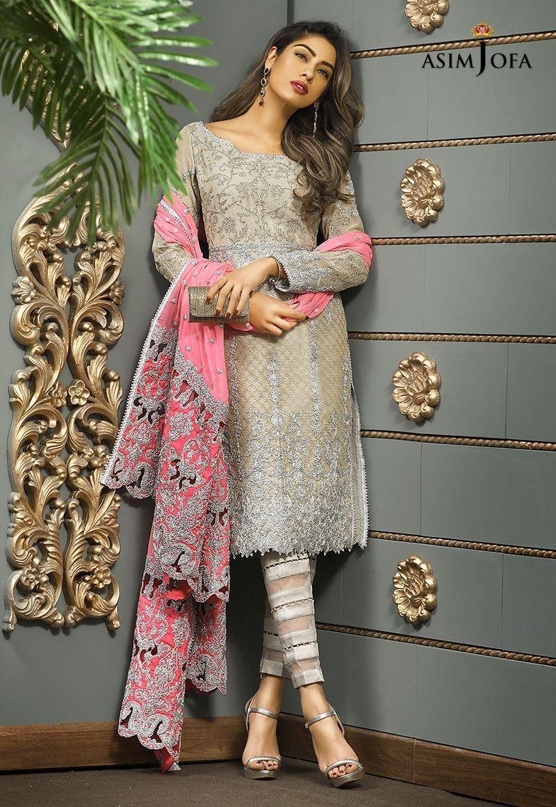 Pakistani ASIM JOFA 2018 Latest Embroidery Bridal Collection Shalwar Kameez Suit