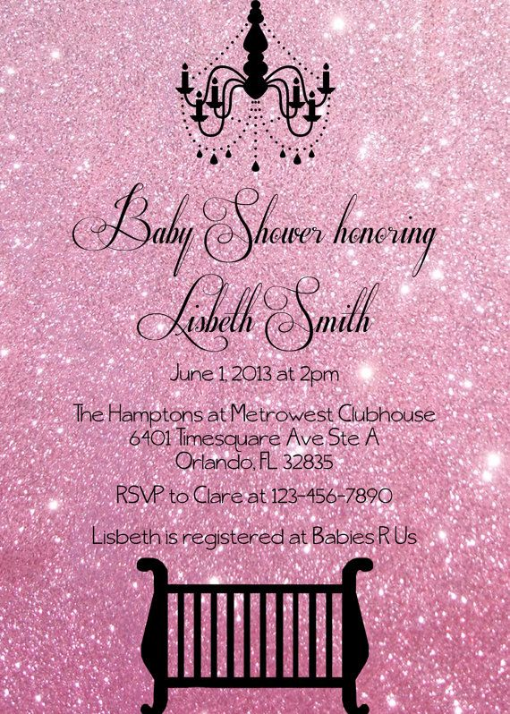 Pink Glitter Baby Shower Invitation Digital File