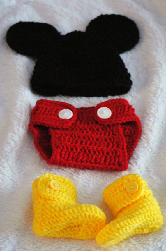 Crocheted Mickey Mouse Photo Prop for Infant - Size 0-3 | Opa ...