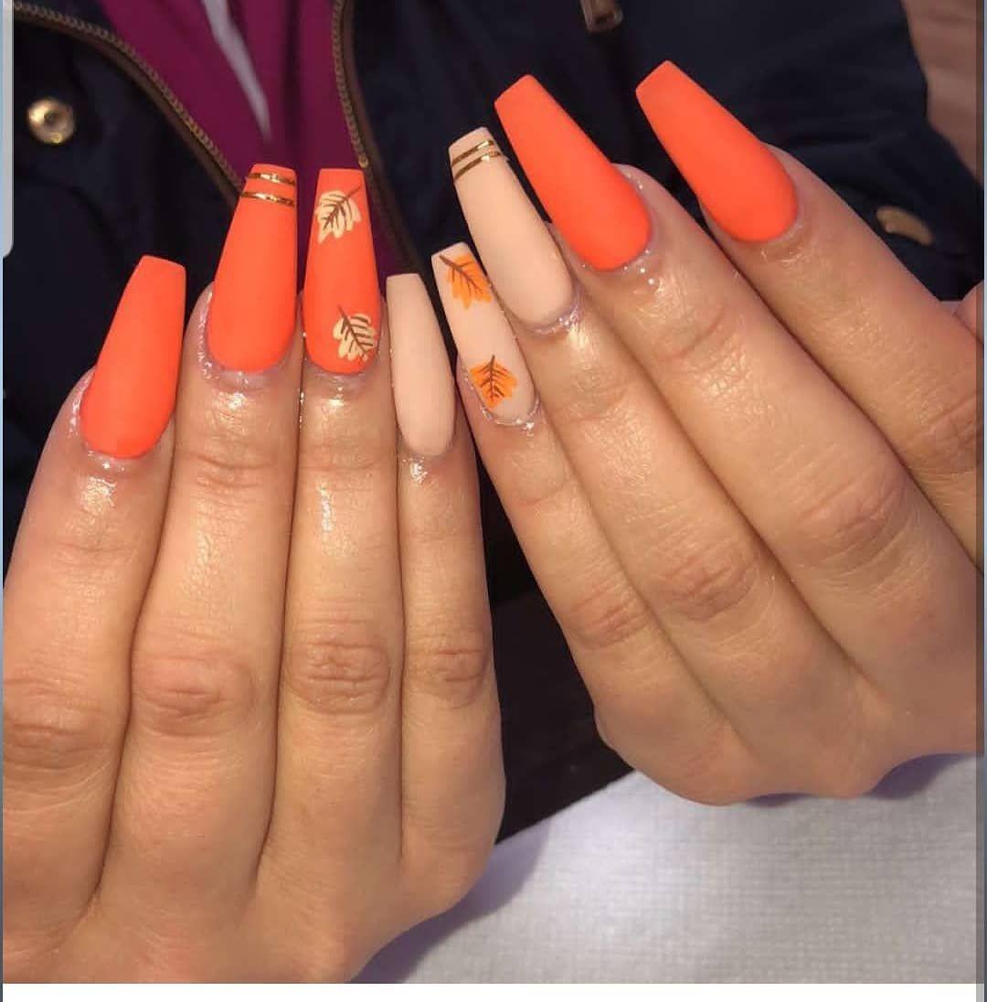 Queenmiokinailz On The Fall Nailz Brandedstylez Brandednails Fall Orange Leaves Matte Matte Fa Orange Acrylic Nails Fall Acrylic Nails Cute Acrylic Nails