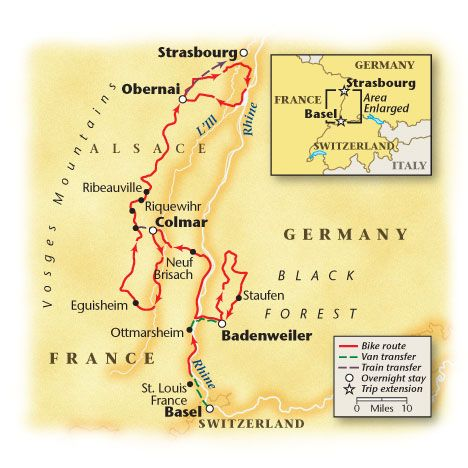 VBTs Alsace The Black Forest La Route Des Vins vacation map