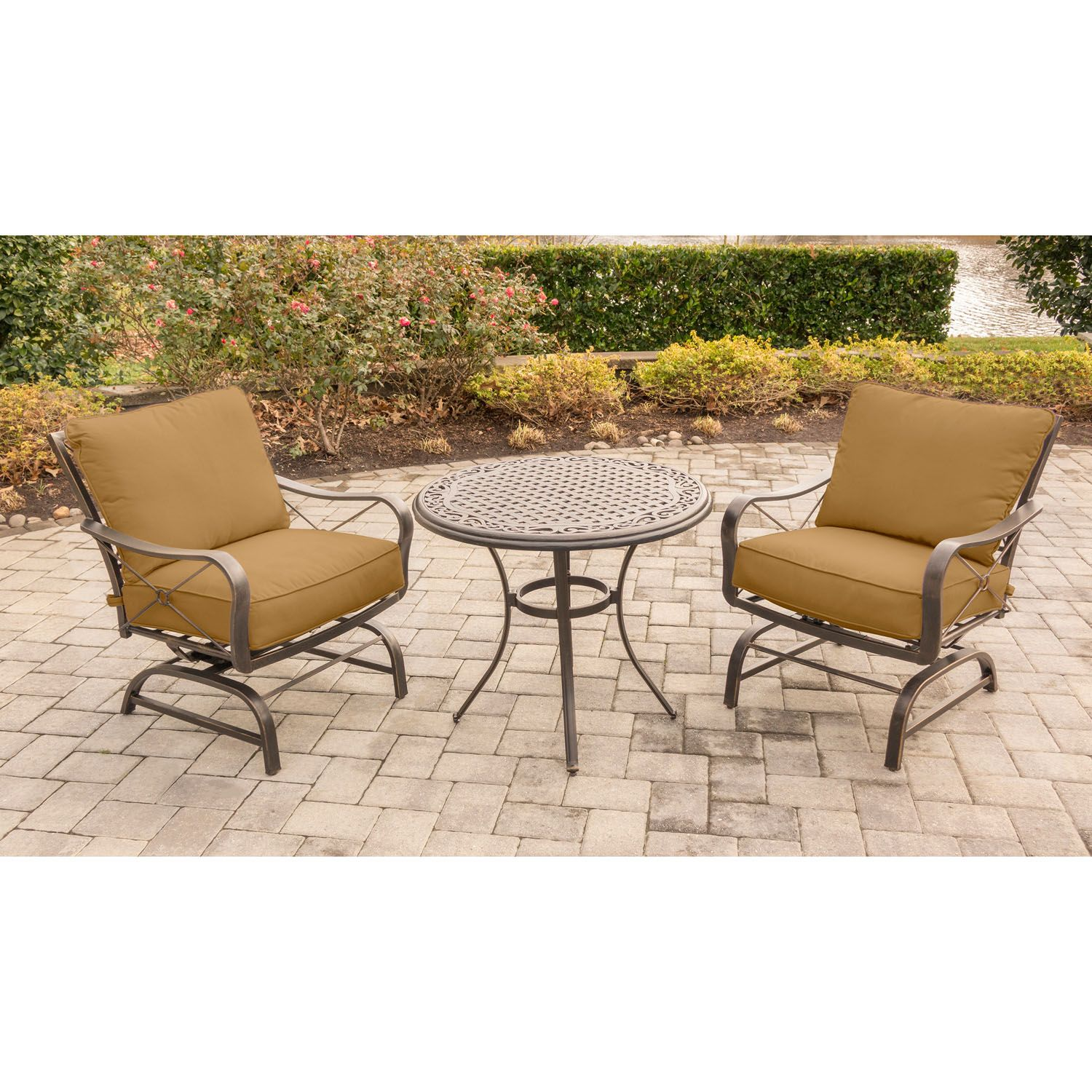 Summer Nights 3PC Dining Set with 2 Cushioned Rockers and a 32 In ...