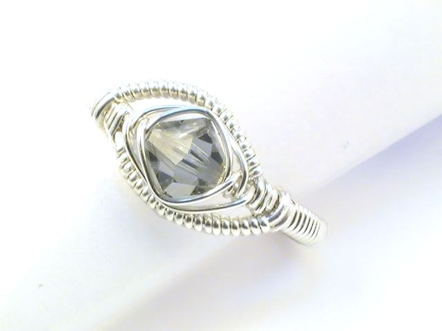 Dragon's Eye Wire Wrapped Ring with Swarovski Crystal