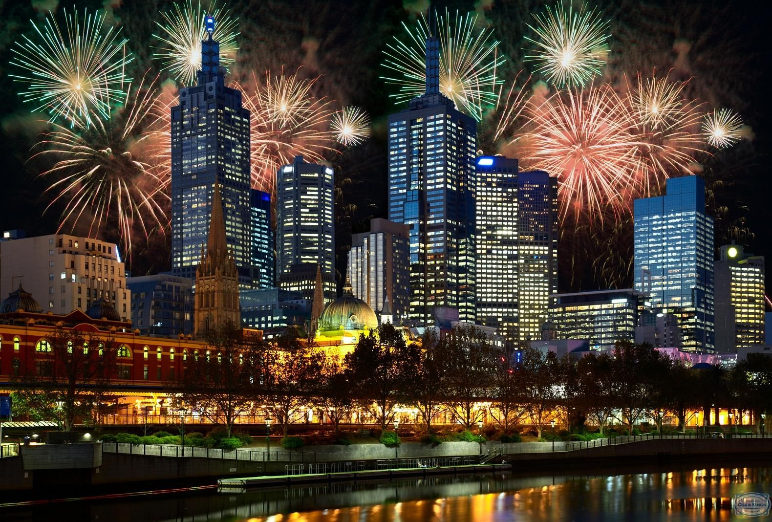 New Year, Melbourne, Australia New year fireworks, New