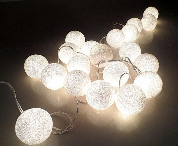 white cotton ball string lights fairy lights party weddingparty from deesarah8 on etsy saved to 1st apartment