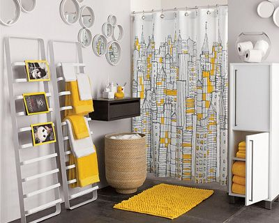 yellow shower curtain with city motives in modern bathroom design rh pinterest com