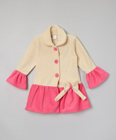Look what I found on #zulily! Beige & Fuchsia Coat - Toddler & Girls #zulilyfinds