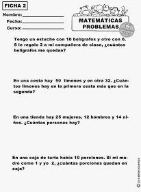 MinihogarKids: MATEMÁTICAS PRIMARIA. EJERCICIOS DE PROBLEMAS. FICHAS ...