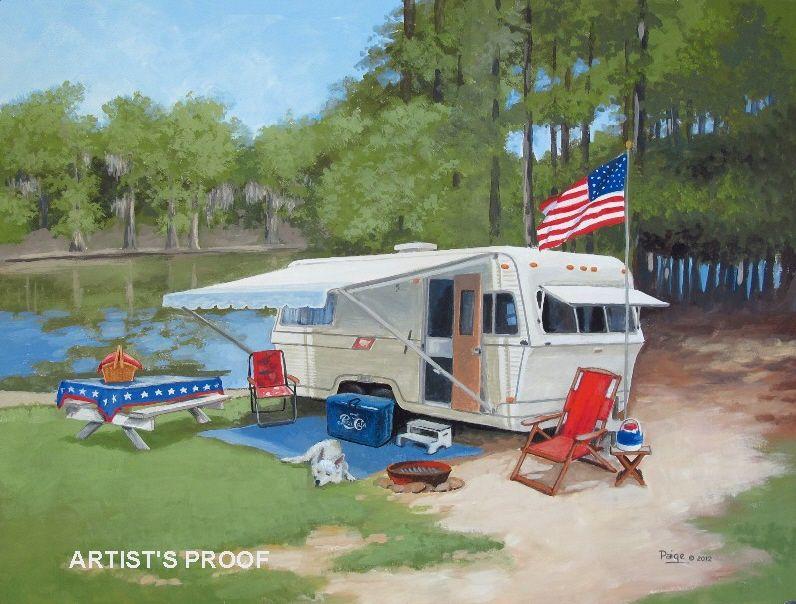 1977 Holiday Rambler Paige Bridges Vintage Travel Trailer Art Caddo Lake State Park TX