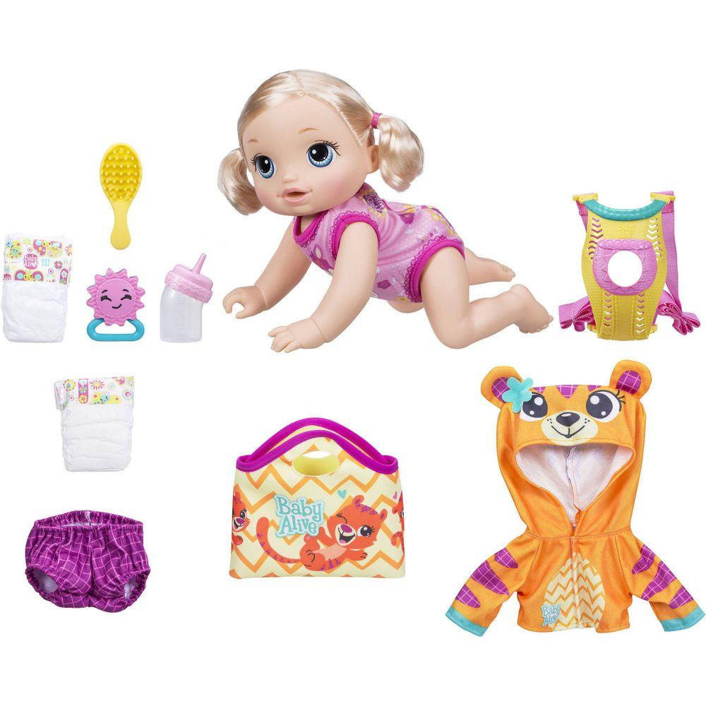 Baby Alive Baby Go Bye Bye Blonde Doll English Spanish Bonus Outfit Mat Baby Alive Dolls Baby Alive Baby Girl Toys