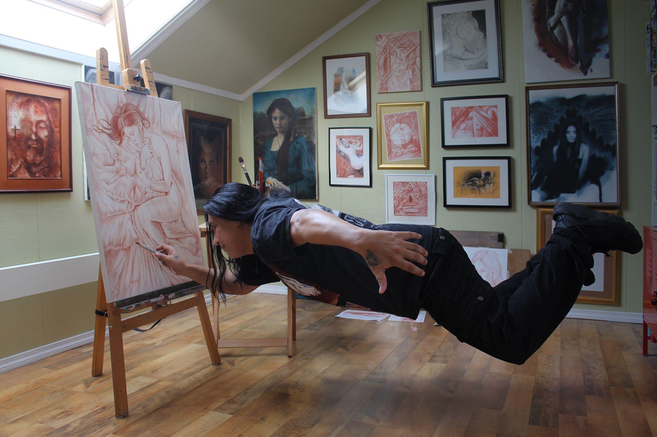 Levitation or transvection(spiritual energy) Levitando de pura alegría de estar vivo. Credit: Photo by Frøya Nuna Haus-Tinizaray.