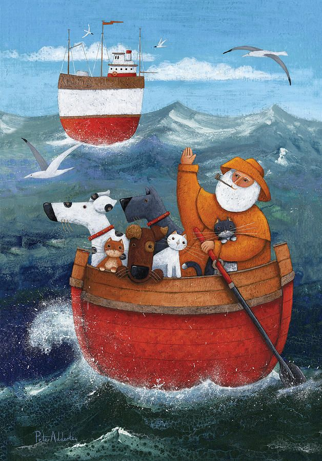 Animal Boat Adventure Whimsical art, Art, Boat art