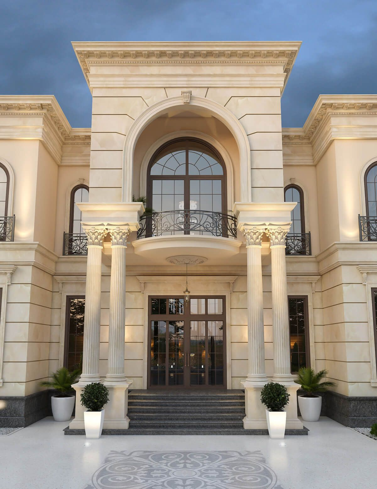 Neoclassical Palace Design Al Doha Qatar Cas Classic House Design Classic House Exterior Exterior Design