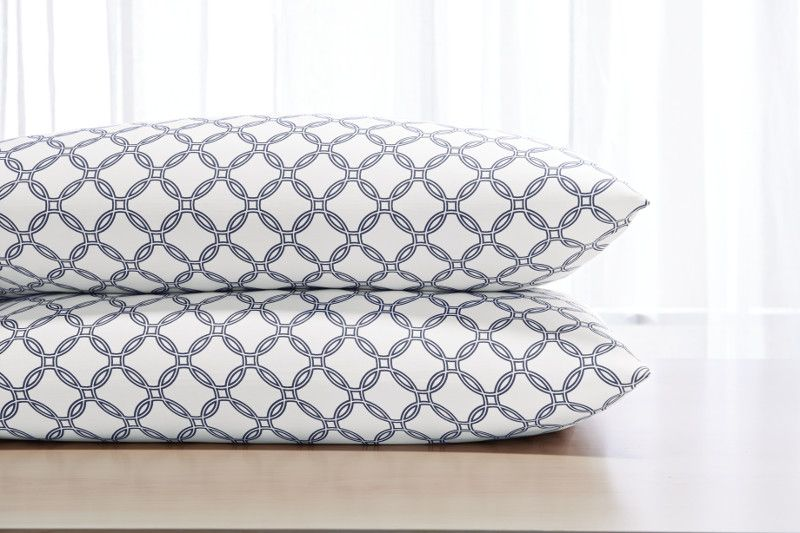 Check out these new fabulous sheets from our #SleepNumber Smart Classics Bedding collection. A Bold, fun pattern in #Navy!