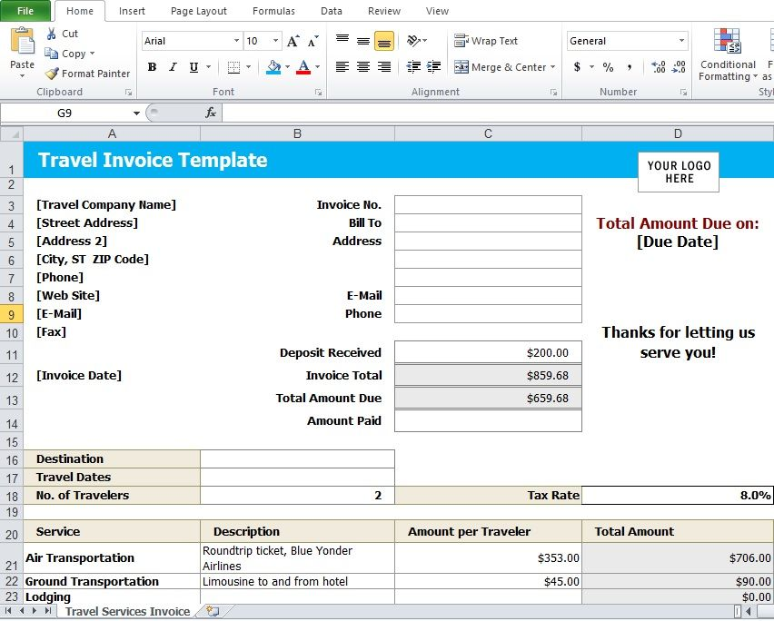 Travel Agency Invoice Excel Template Travelling Has Always Been