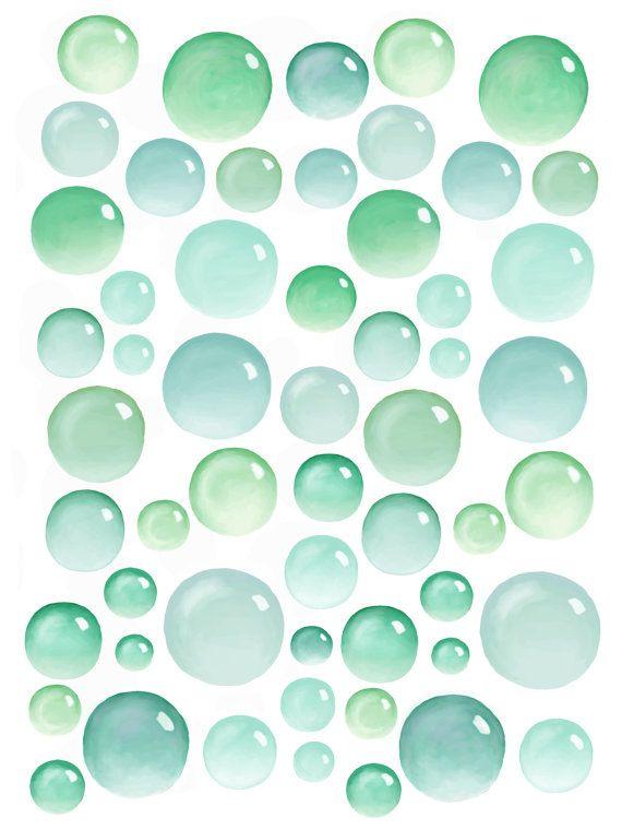 Bubbles Wall Decals 55 Set Green Bathroom Decals For Walls