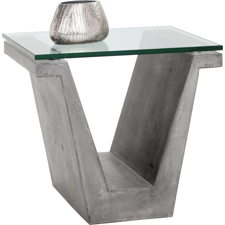 Sunpan Jasper End Table Glass Top On V Shape Concrete Base Glass Table End Tables Table [ 1500 x 1500 Pixel ]