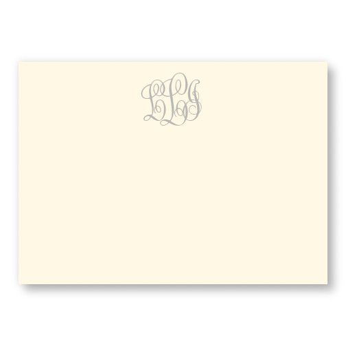 Stationery | Personalized Gifts | American Stationery (ivory correspondence card, script monogram, gray thermography ink)