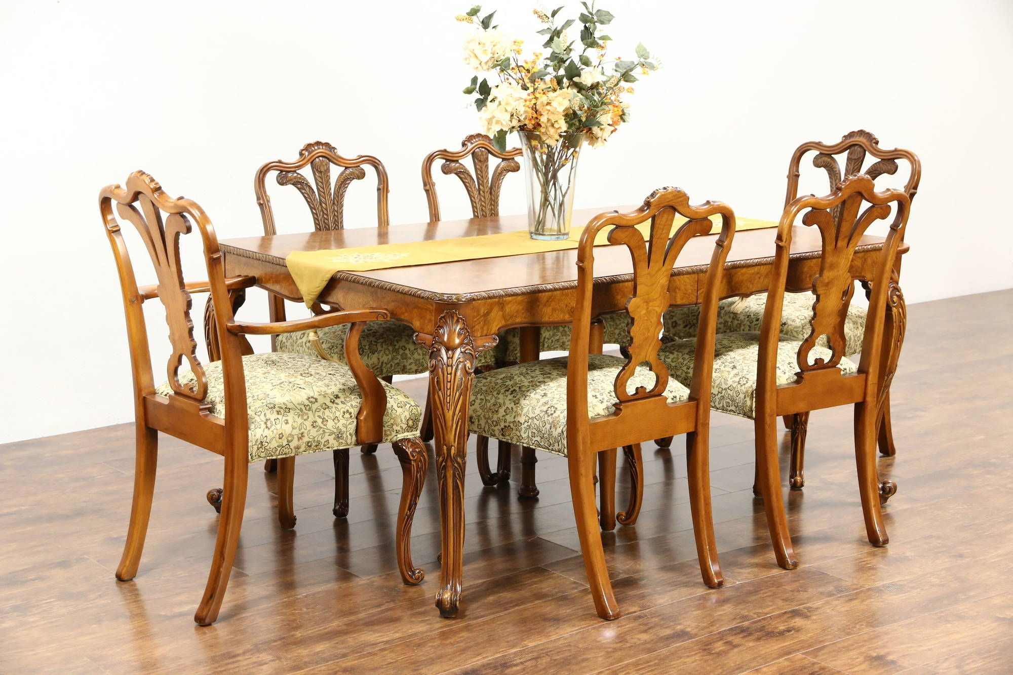 Dining Set Table 2 Leaves 6 Chairs 1940 S Vintage Carved Olive Ash Burl 26790 Dining Table Setting Dining Set Chair