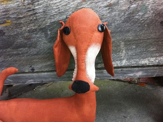 Primitive Reddish Brown Weiner Dog by Rabbithollowprims on Etsy, $19.95