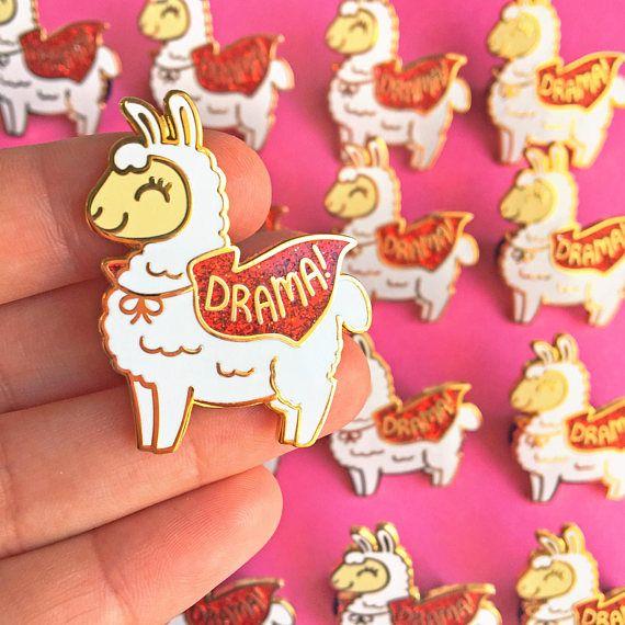 Great Drama Llama Hard Enamel Pin // Kawaii, Alpaca, Glitter, Funny, Pun