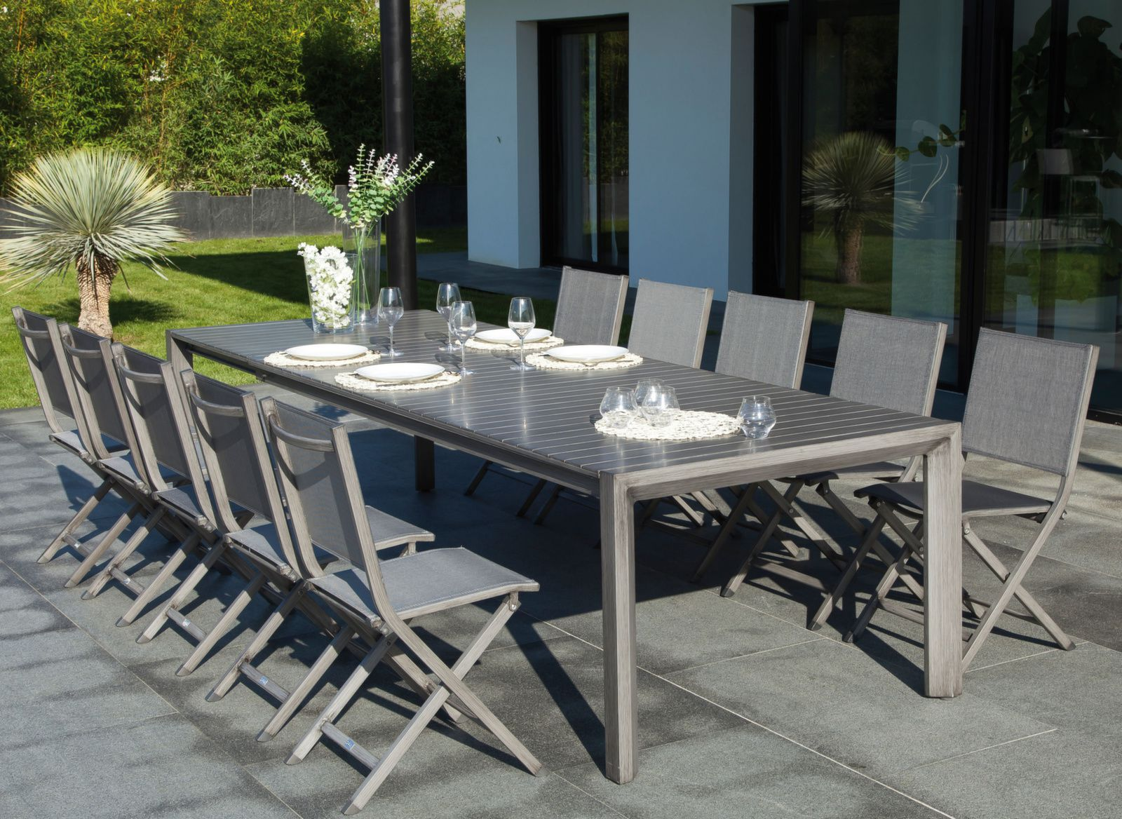 Table Milan 230 305 Cm Finition Brush Mobilier De Jardin