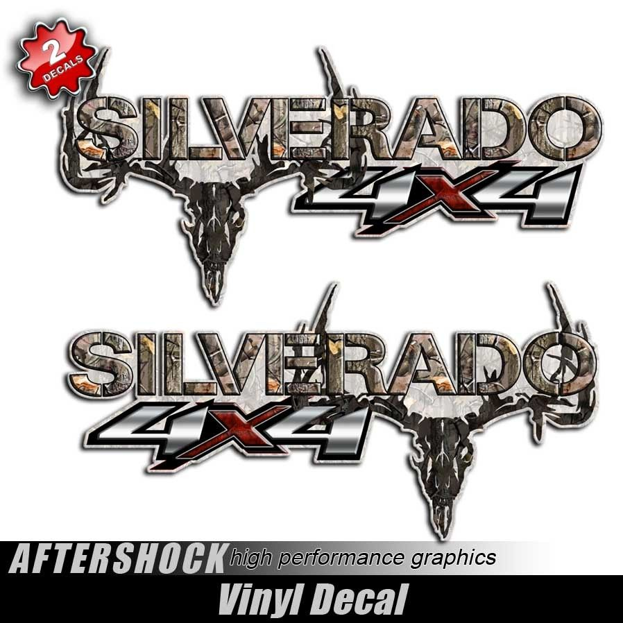 X Silverado Camo Skull Truck Decals Truck Decals X And - Chevy decals for trucks