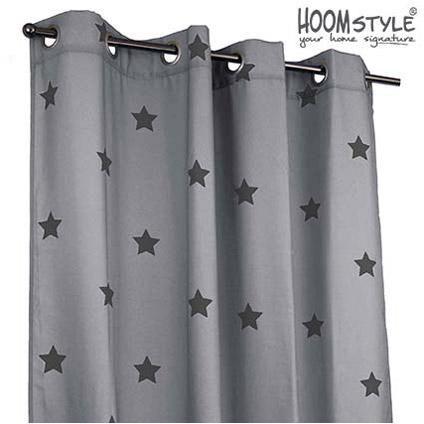 HOOMstyle kant & klaar gordijnen 2 stuks print ster grijs/grijs ...