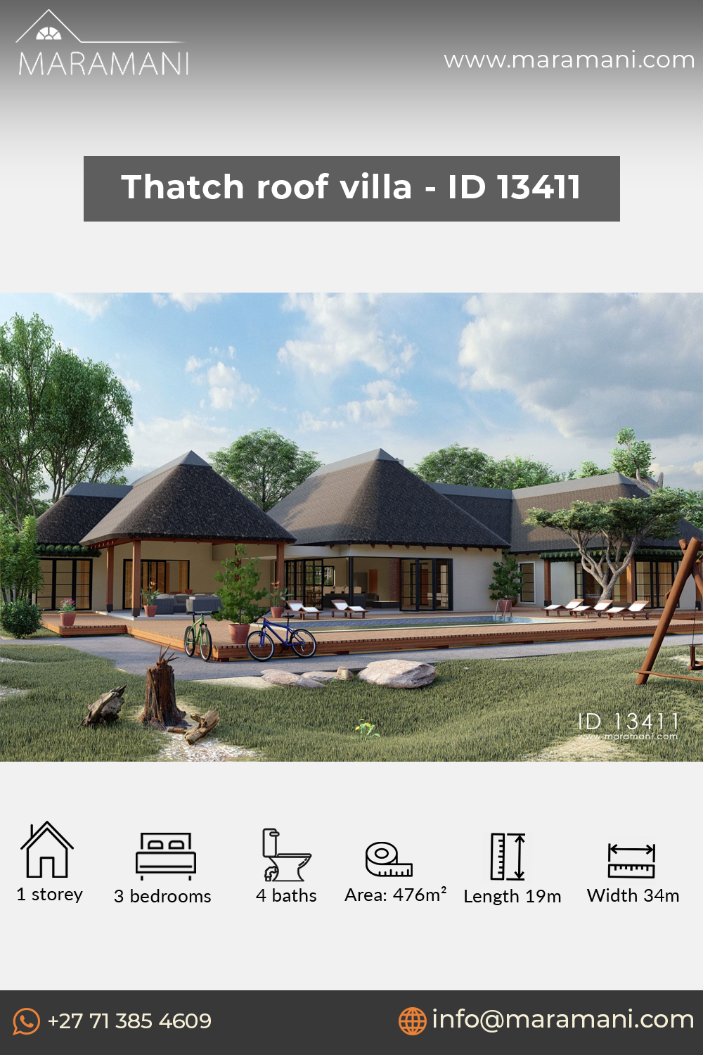 Thatch Roof Villa Id 13411 Beach House Plans Pool House Plans Thatched House