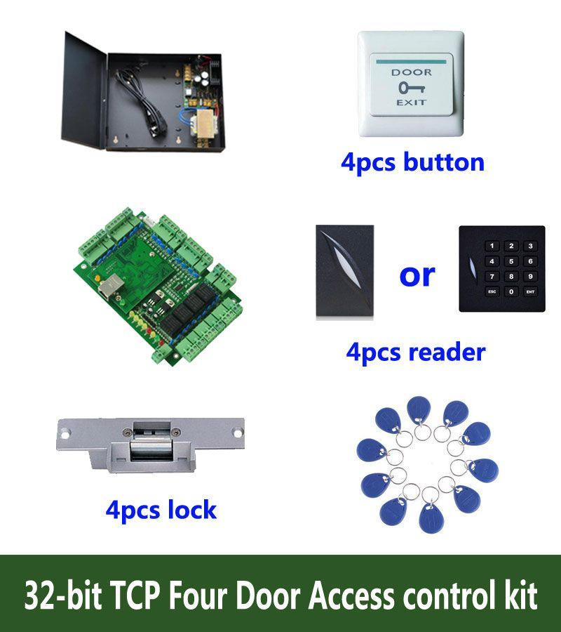 RFID 32-bit access control kit,TCP/ip four door access