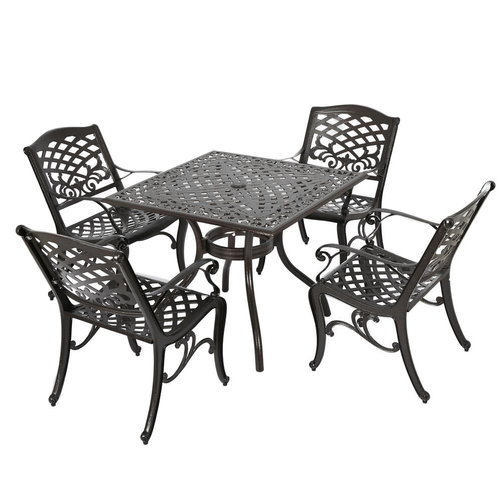 Noble House Sarasota Bronze 5 Piece Aluminum Square Outdoor Dining Set Patio Dining Outdoor Dining Set Outdoor Furniture Sets