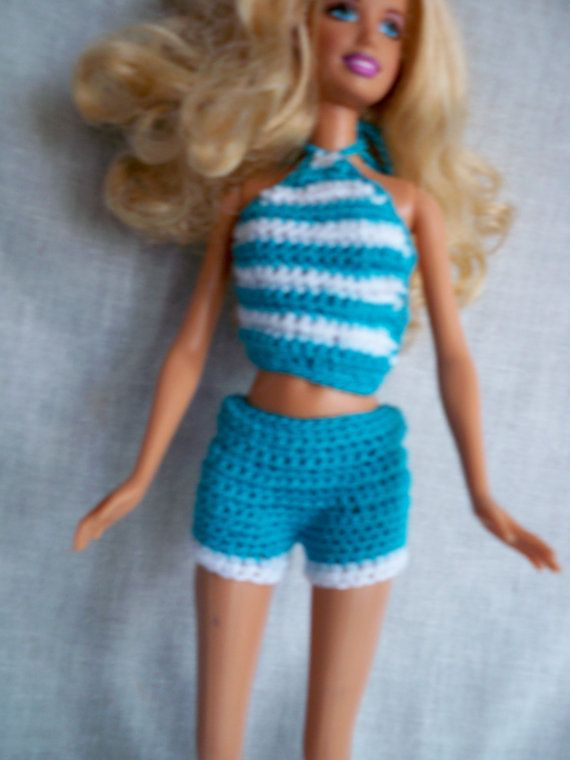 Pdf Pattern for Shorts and Halter Top For Barbie Dolls, Crochet ...