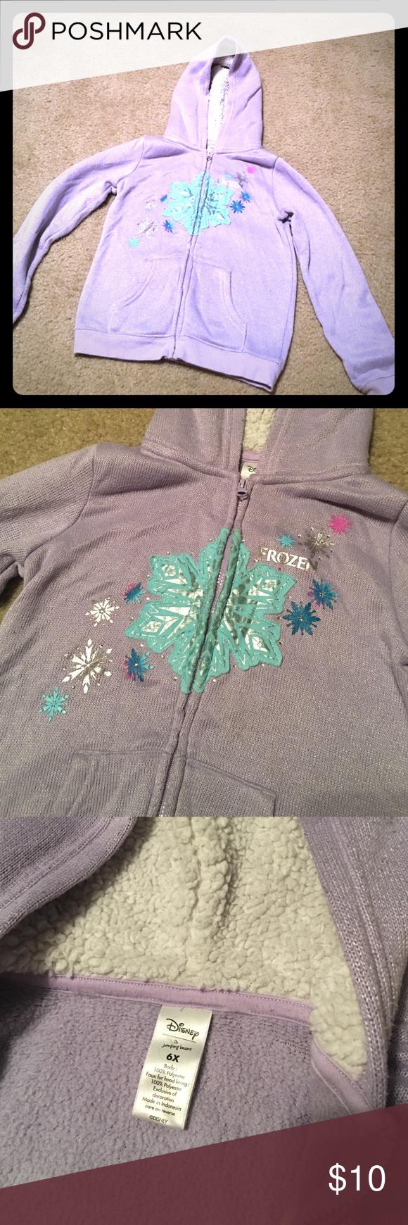 Frozen zip up sweater Girls frozen zip up sweater. Light purple size 6x Disney Shirts & Tops Sweatshirts & Hoodies