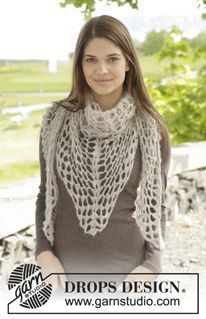 """Overcast - Crochet DROPS shawl with lace pattern in """"Brushed Alpaca Silk"""". - Free pattern by DROPS Design"""
